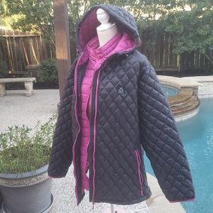 NWOT,  Reebok hooded  quilted pink black jacket 3X